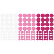 Naklejki do pokoju dziecka Kropki Groszki - biały, różowy
